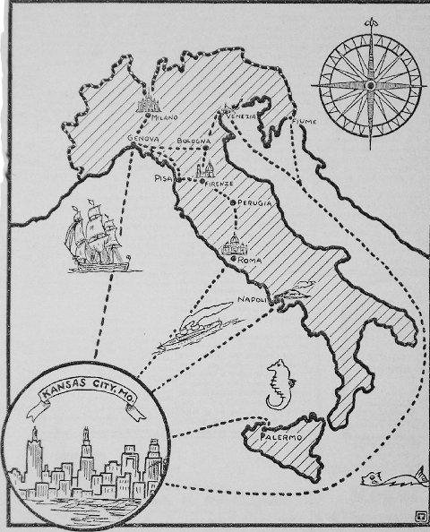 """A map featured in Kansas City's """"Future"""" magazine in 1935"""