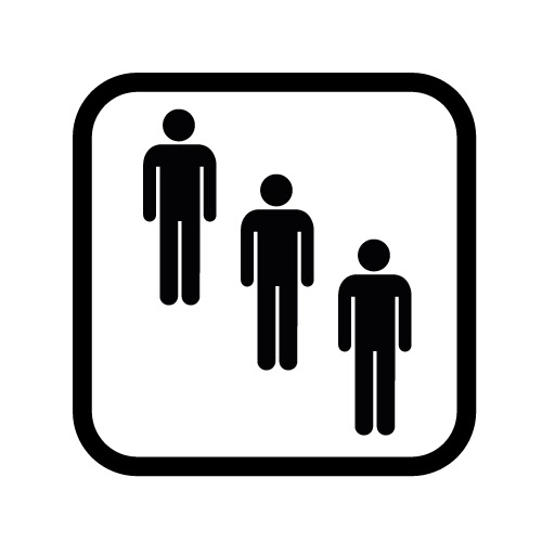 silhouette of 3 people standing in a diagonal row