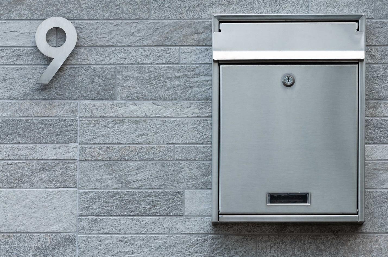 Modern silver mailbox