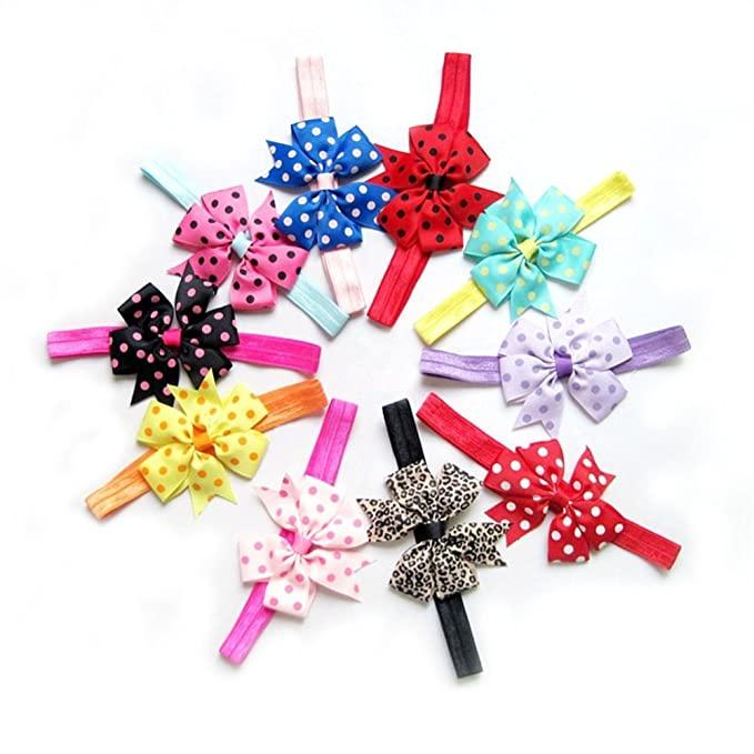 Skudgear Jumbo Pack of 10 Cute Kids Baby Girls Headbands Toddler Infant Designer Chiffon Bowknot Headbands (Pack of 10) Multi Color Hair Bows Hair Band Accessories
