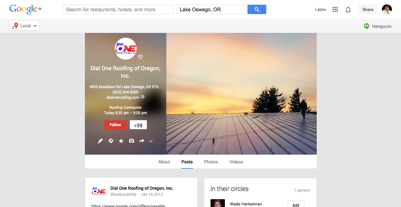 dial one roofing google plus local