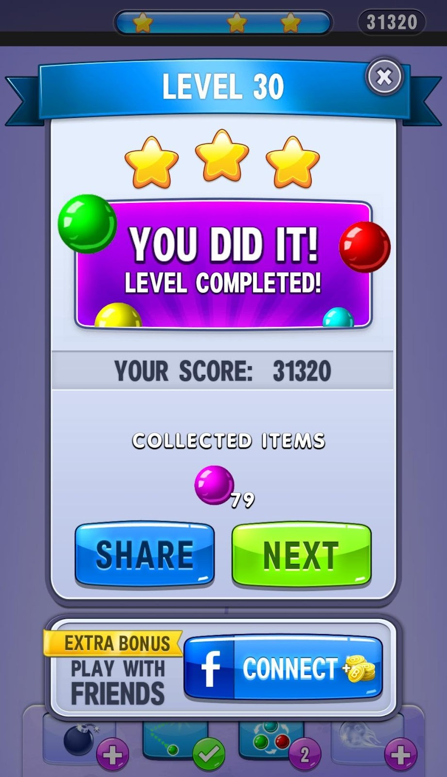 Bubble Shooter Level Complete