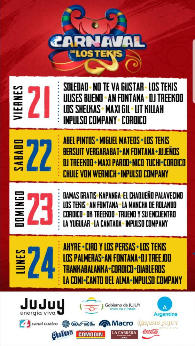 Itinerario Carnaval de los Tekis 2020