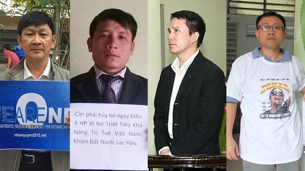 Từ trái qua: Ký giả Trương Minh Đức, Mục sư Nguyễn Trung Tôn, ông Phạm Văn Trội, ông Nguyễn Bắc Truyển.