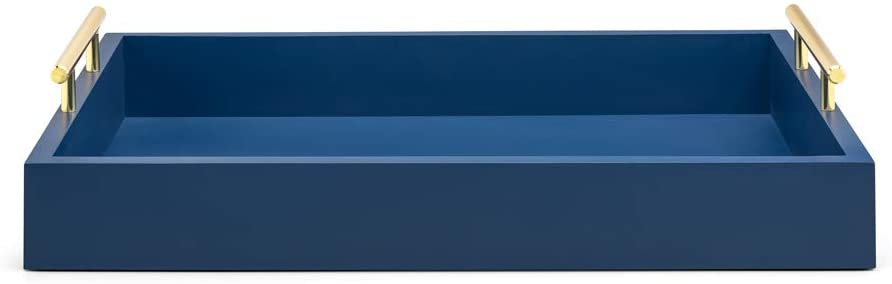 cobalt navy blue decorative tray brass handles rectangle for dining room