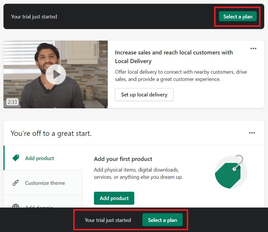 select a shopify plan