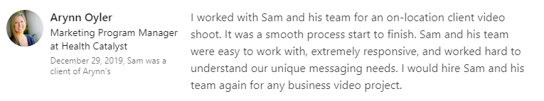 Testimonial Hero LinkedIn review provides a key B2B endorsement.