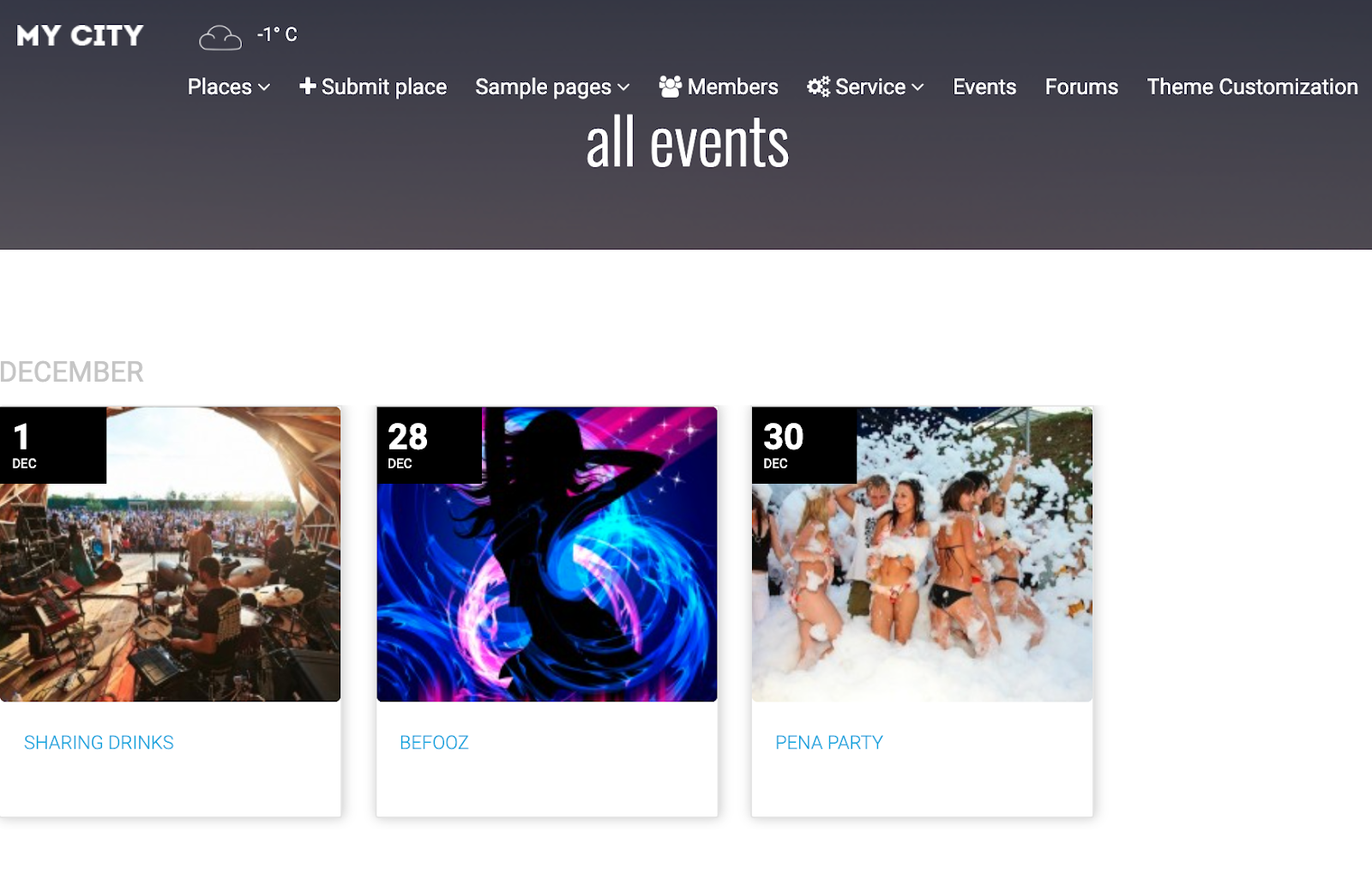 events guide directory wordpress theme example