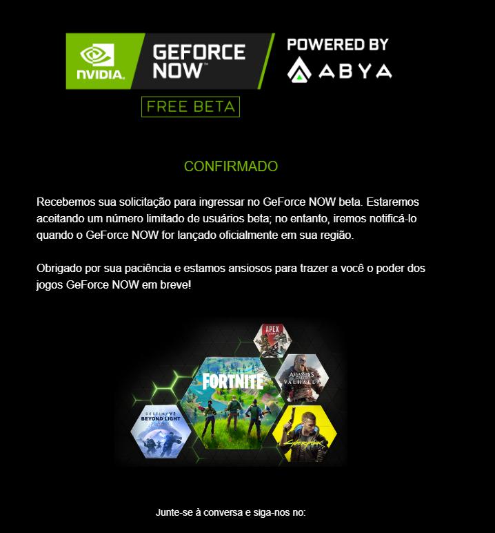 Print da tela de confirmação de cadastro enviado por e-mail pela GeForce Now (Fonte: Reprodução/Zoom)