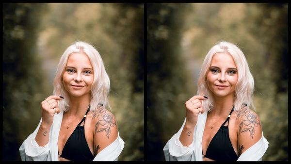 antes e depois da foto de uma mulher loira sendo que em uma foto está com a maquiagem CEO do AirBrush