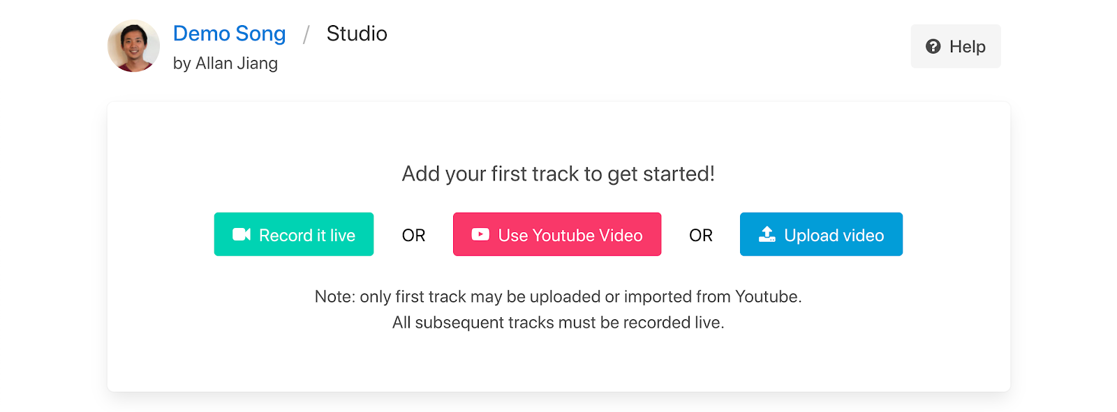 add first track options