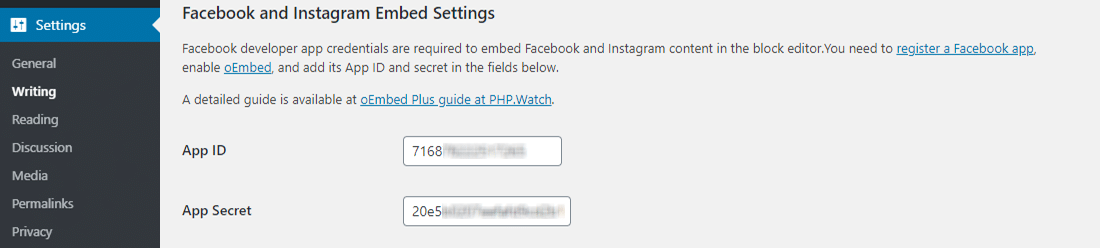 Add Facebook App ID to oEmbed WordPress Plugin