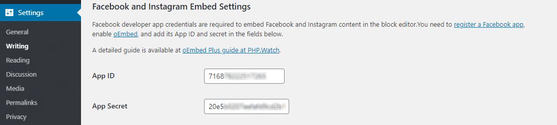 Add Facebook App ID to oEmbed WordPress Plugin