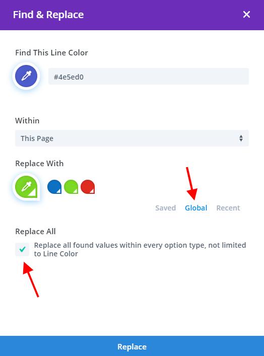 usando Buscar y reemplazar en Divi para cambiar los colores guardados en colores globales