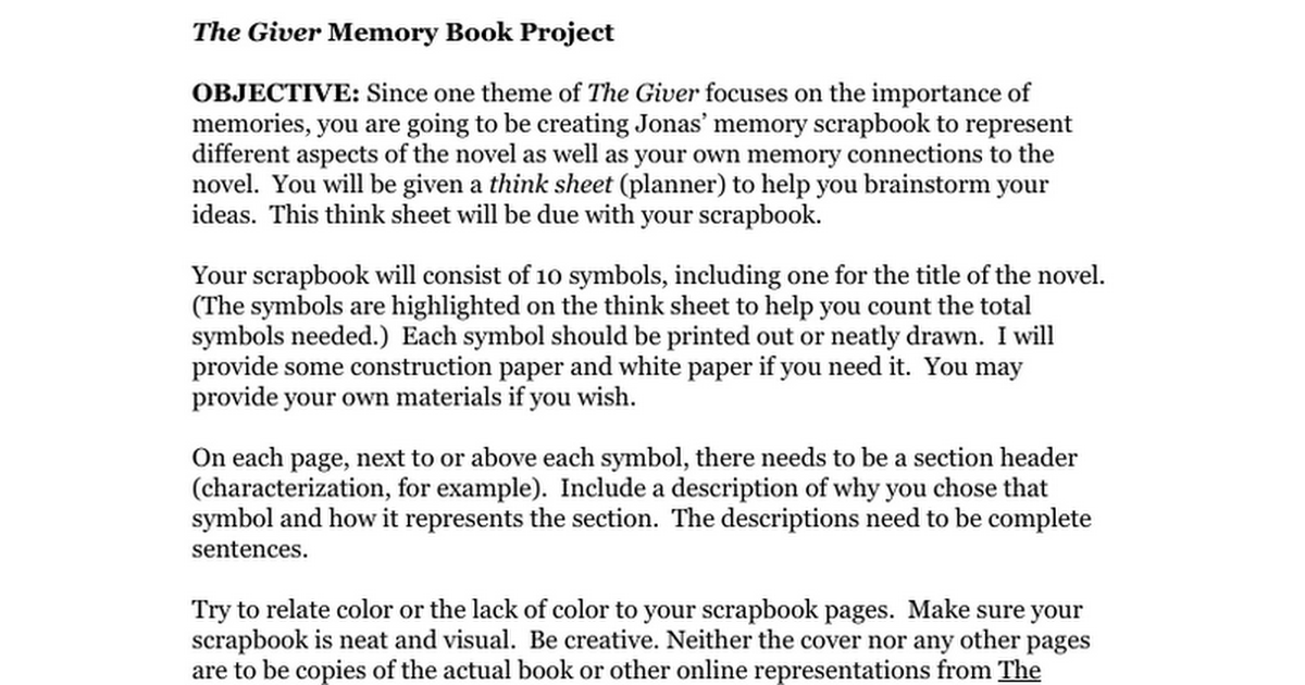 The Giver Jonas Memory Book Final Project Google Docs