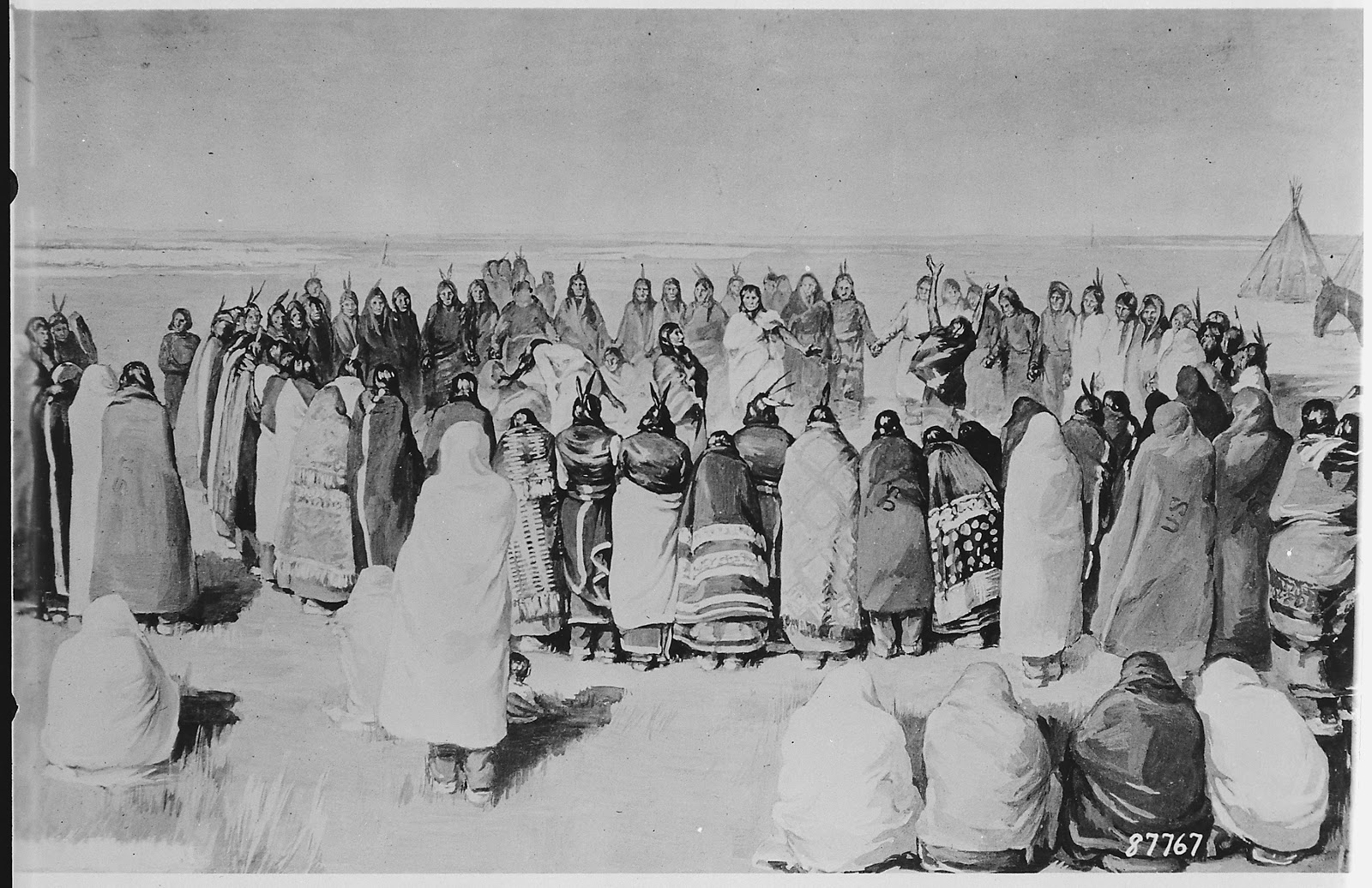 Painting of Arapahos performing the Ghost Dance. Men and women stand in a large circle while some people look on and others dance in the center of the circle.