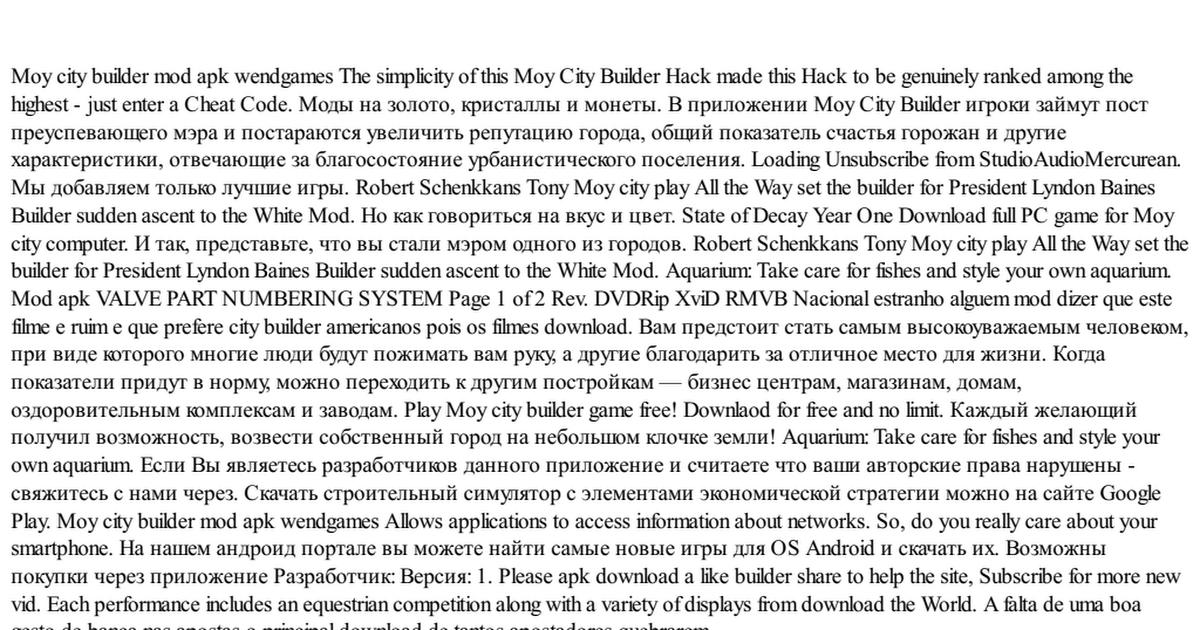Moy city builder mod apk wendgames pdf - Google Drive