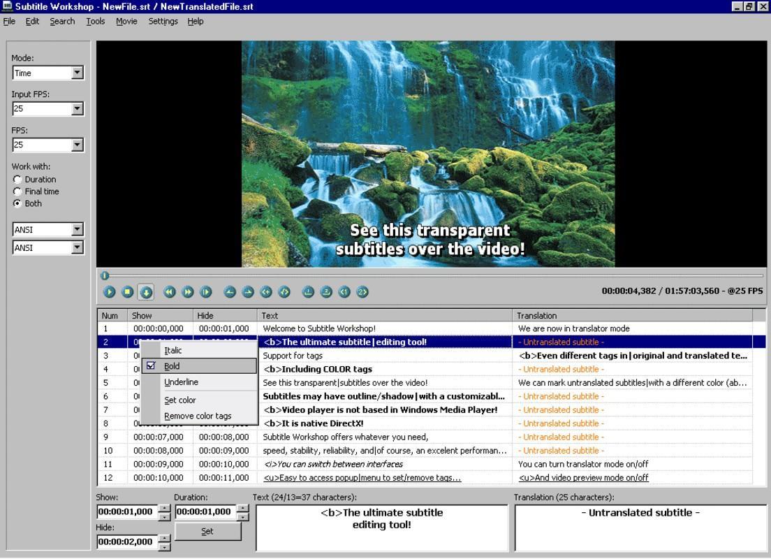 interface do Subtitle Workshop, programa gratuito para colocar legenda em videos