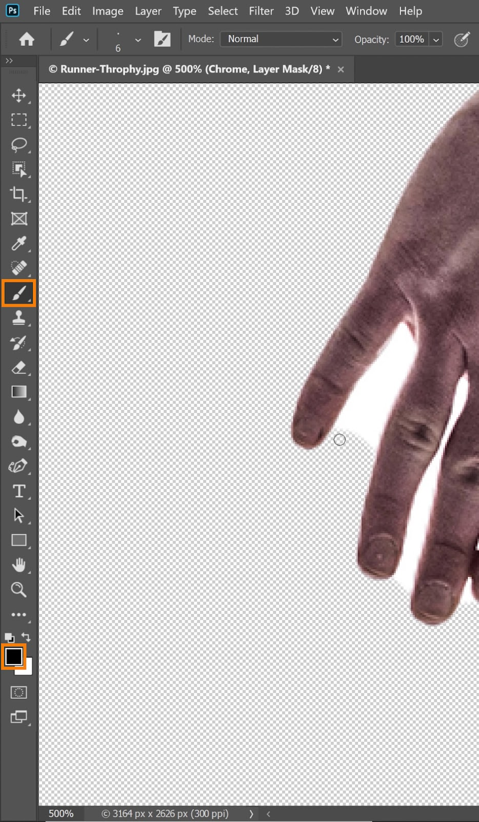 Select the Brush tool and setting black(#000000) as the Foreground color