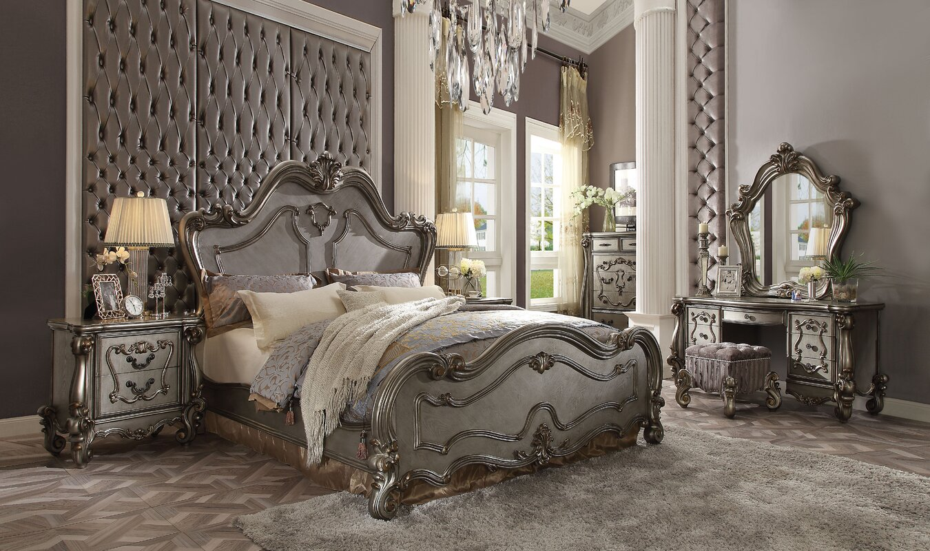 Luxurious Shabby Chic Master Bedroom with Gray and White Combination