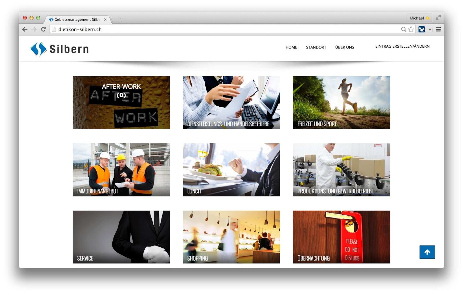 Homepage mit Kategorienwahl