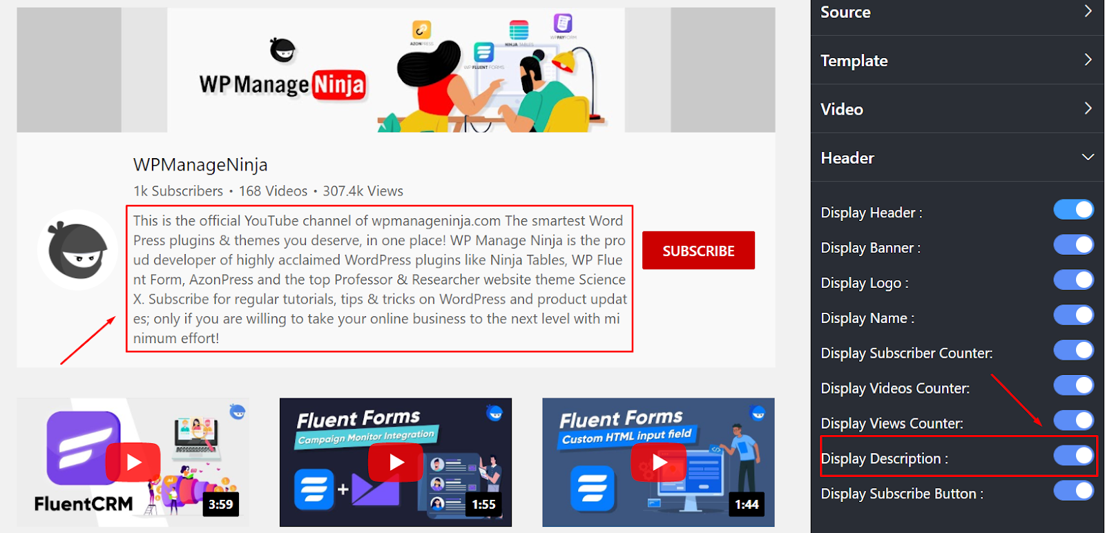 display description youtube settings