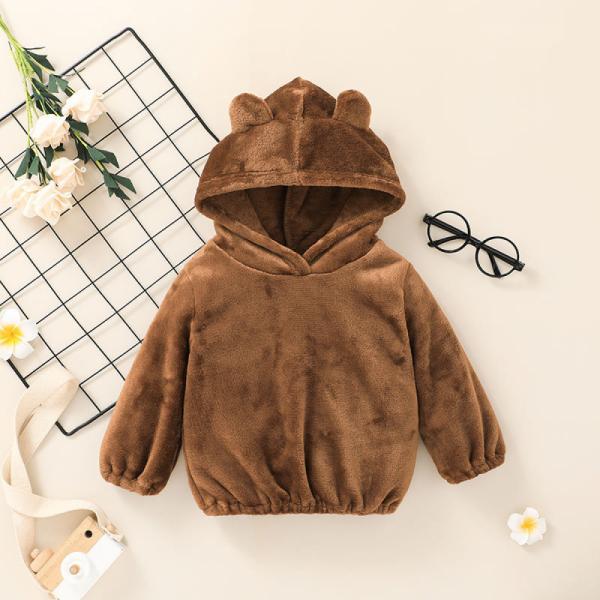 Baby Unisex Brown Bear Hoodie With 3D Ears