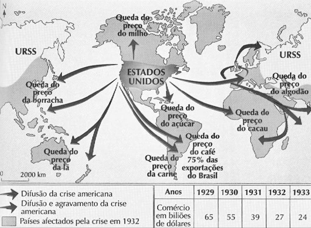 Mapa com esquema sobre os impactos da Crise de 1929 em outros países.