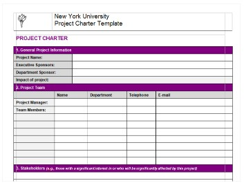 a simpler but more visually appealing project charter template from nyus management school