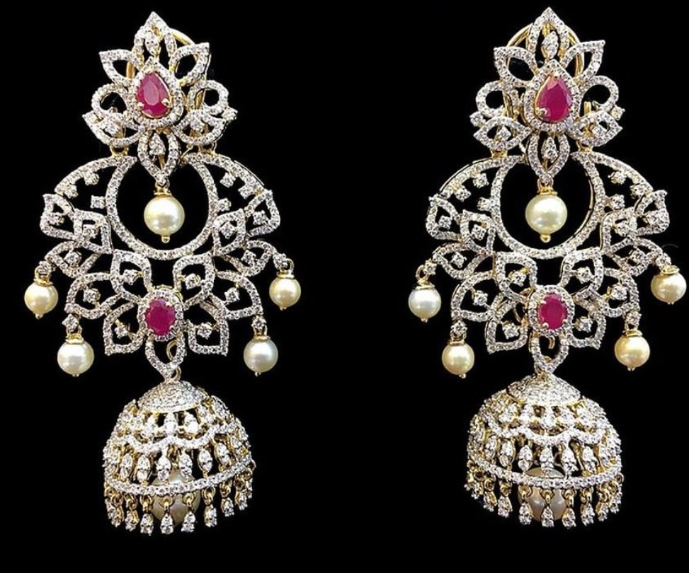Unique Diamond Jhumkas by Amarsons