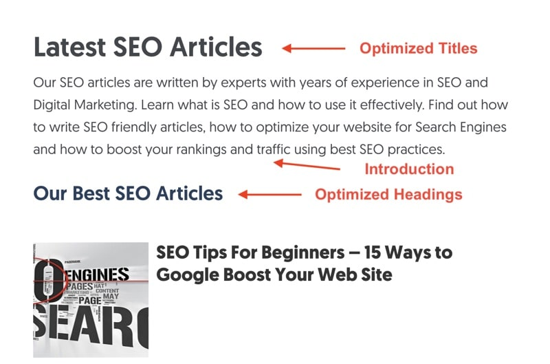 Example SEO optimization catalog