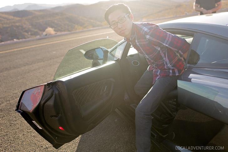 Driving Lamborghini.