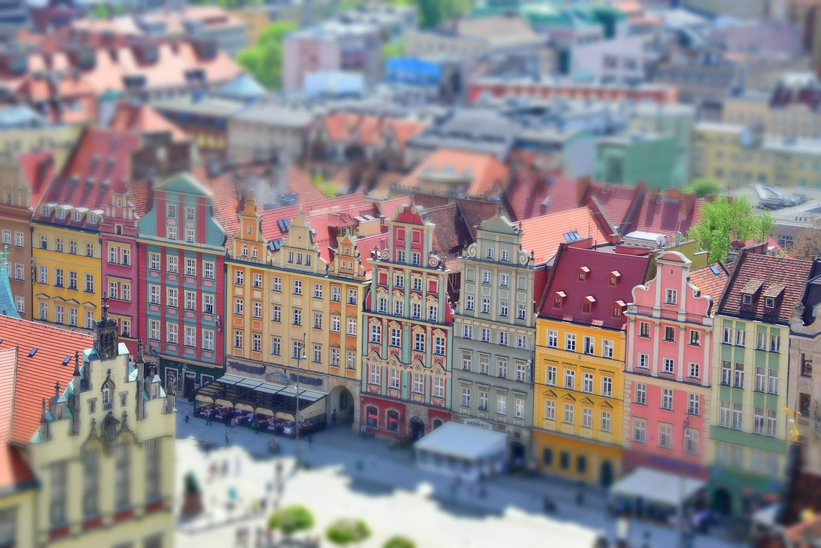 wroclaw push-pull miniature effect colorful medieval buildings in downtown wroclaw in poland on a sunny day