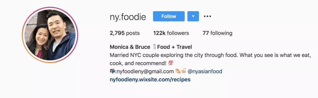 Monica & Bruce | Foodie Couple | Instagram Bio