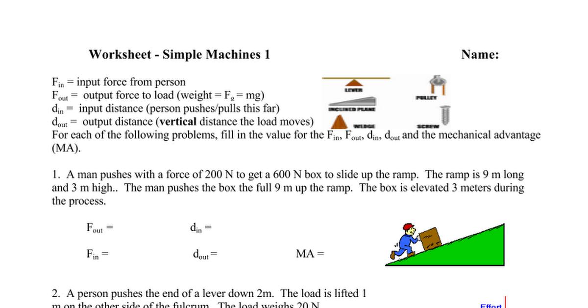 Worksheet Simple Machines 1 Google Docs – F Ma Worksheet