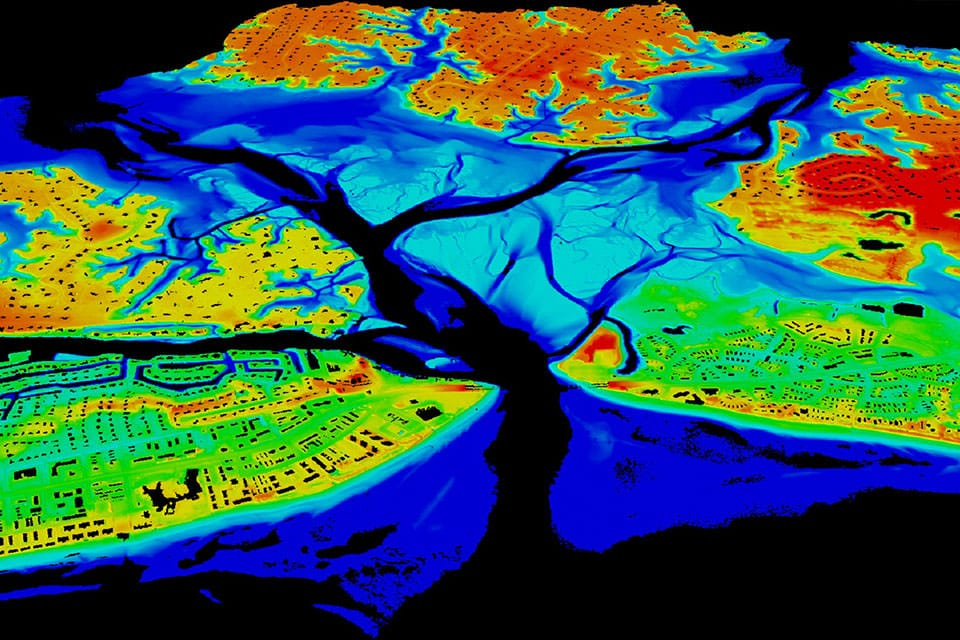 LiDAR image from NOAA. The color mapping allows for dimension and depth, creating a 3D map from a 2D one.