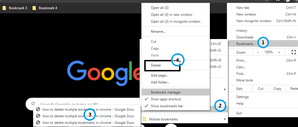 delete bookmarks from setting