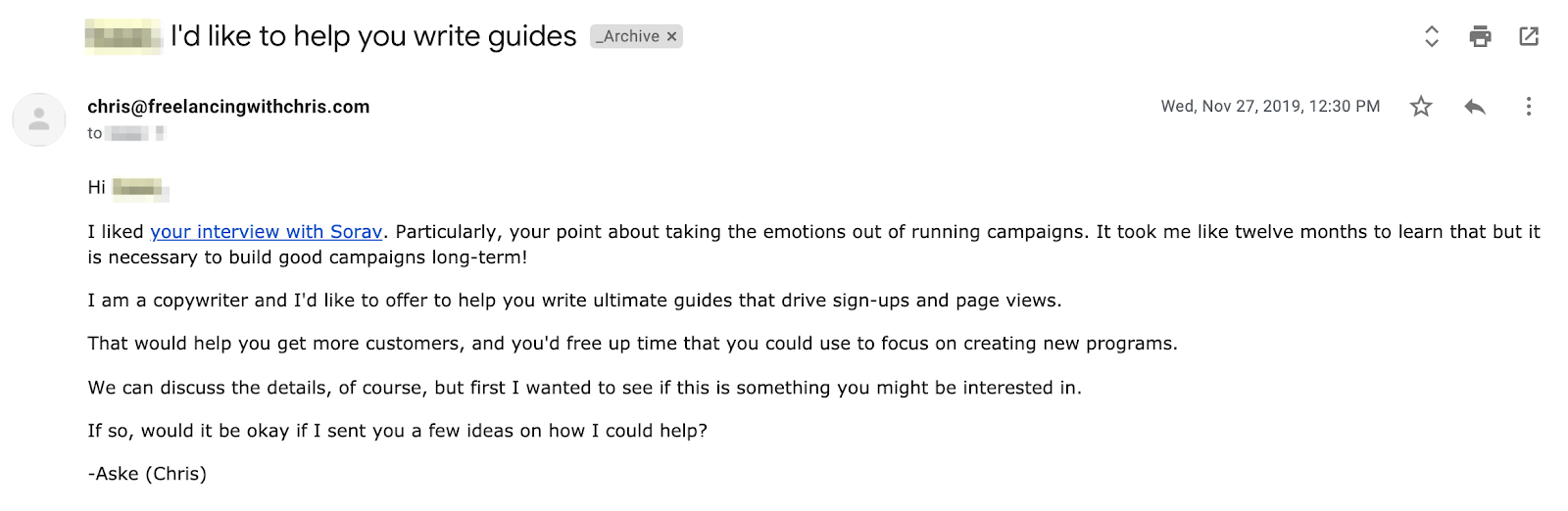 cold email freelance pitch example