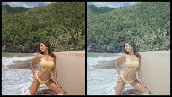 Montagem de duas fotos usando a mesma mulher posando na praia. Foto 1 sem edições e foto 2 usando o Filtro Limestone.