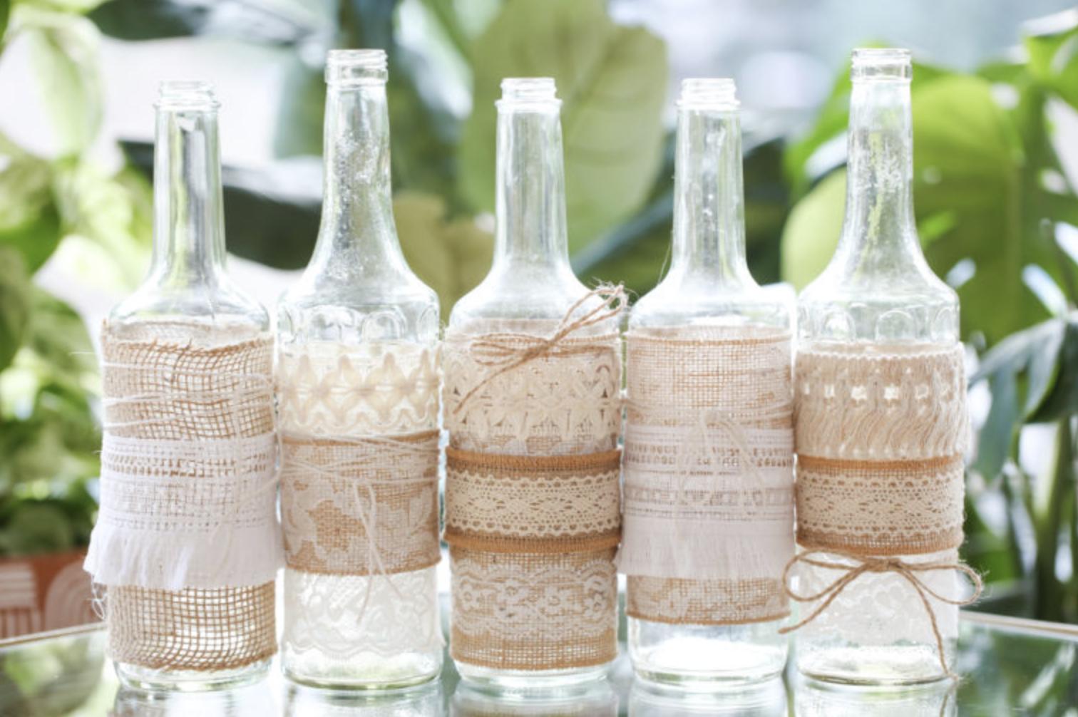 DIY wedding table decor bottle & burlap vases