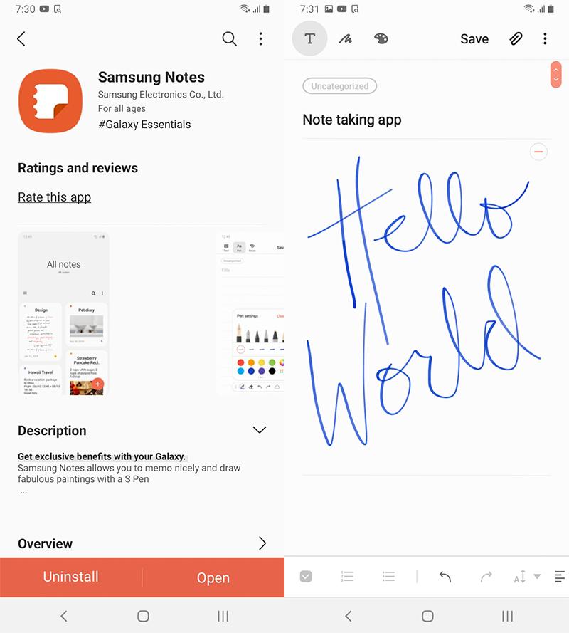 Samsung Notes app