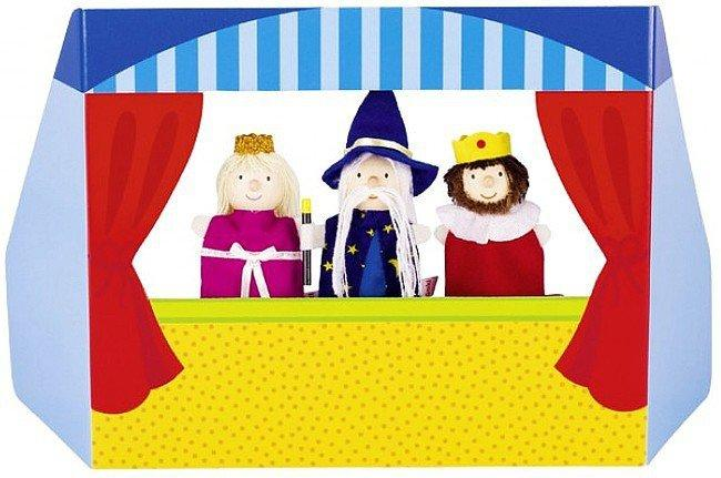 Opis: Mały teatrzyk kukiełkowy z księżniczką, królewiczem i czarodziejem,  51592-goki, zabawki kreatywne | ZieloneZabawki.pl