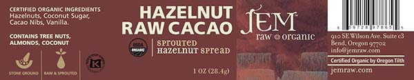 Label, JEM Raw Organic HAZELNUT RAW Cacao Sprouted Hazelnut Spread, 1 oz.