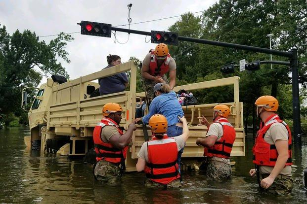 Texas Army National Guard rescue Houston residents from Hurricane Harvey