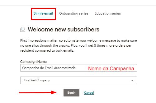 opção de email único ou série de emails automatizados