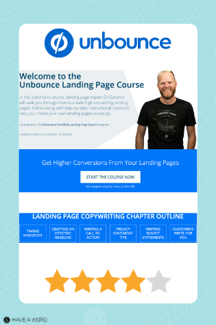 unbounce landing page copywriting course review