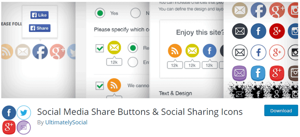 página de download do social media share buttons & social sharing icons