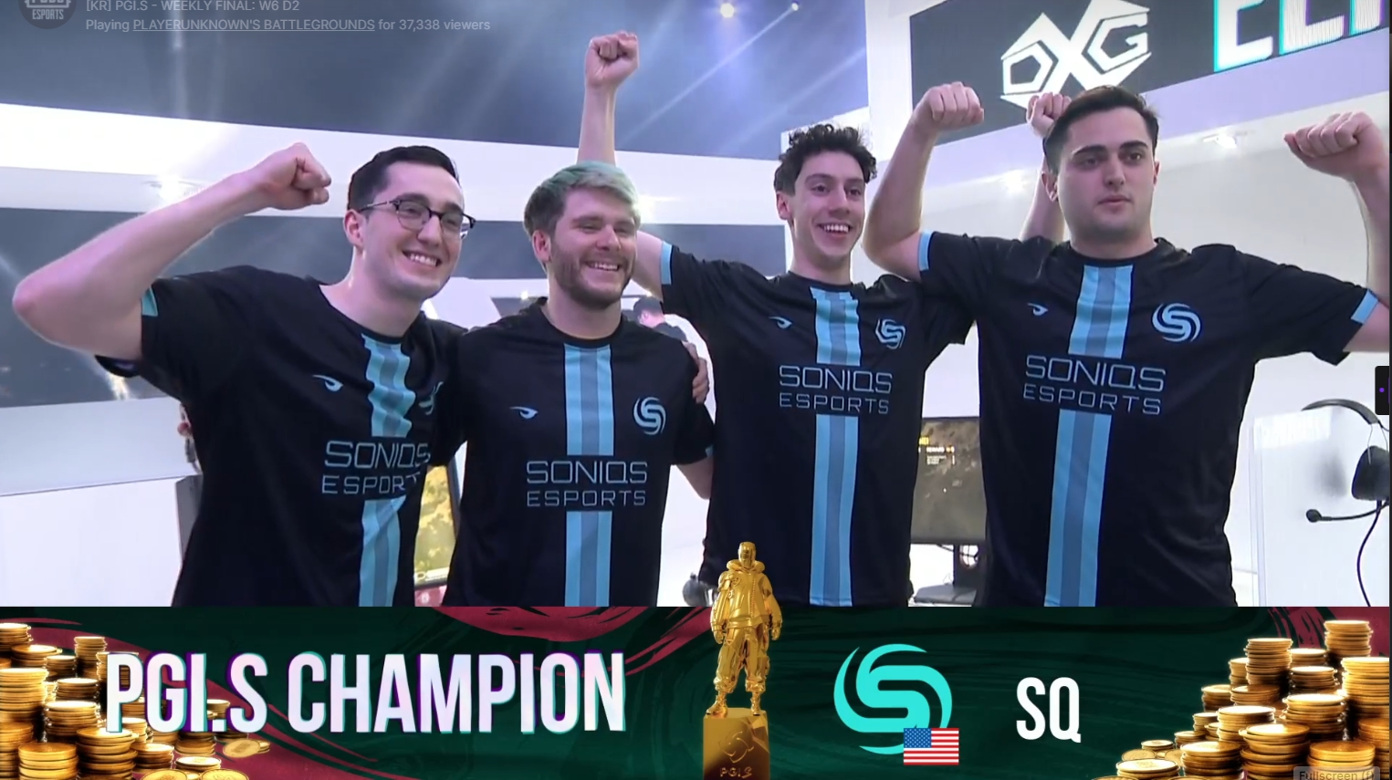 Soniqs Esports players celebrating after the final win in the PGI.S 2021