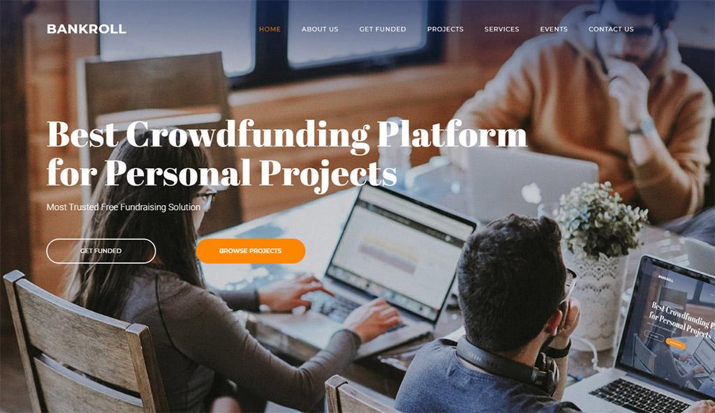 design de site de financiamento coletivo para consultoria bankroll