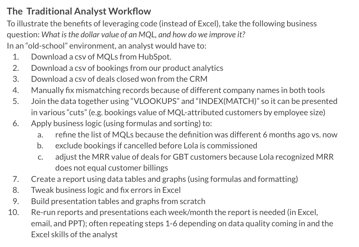 10 steps in the traditional analyst workflow